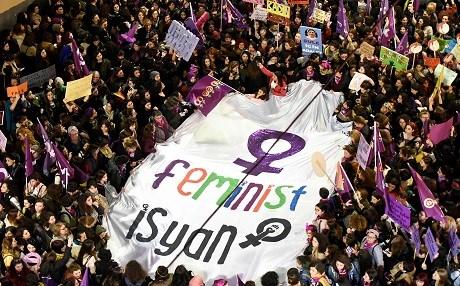 8 Mart 2019, Feminist Gece Yürüyüşü, İstanbul Fotoğraf: Yasin Akgül, AFP